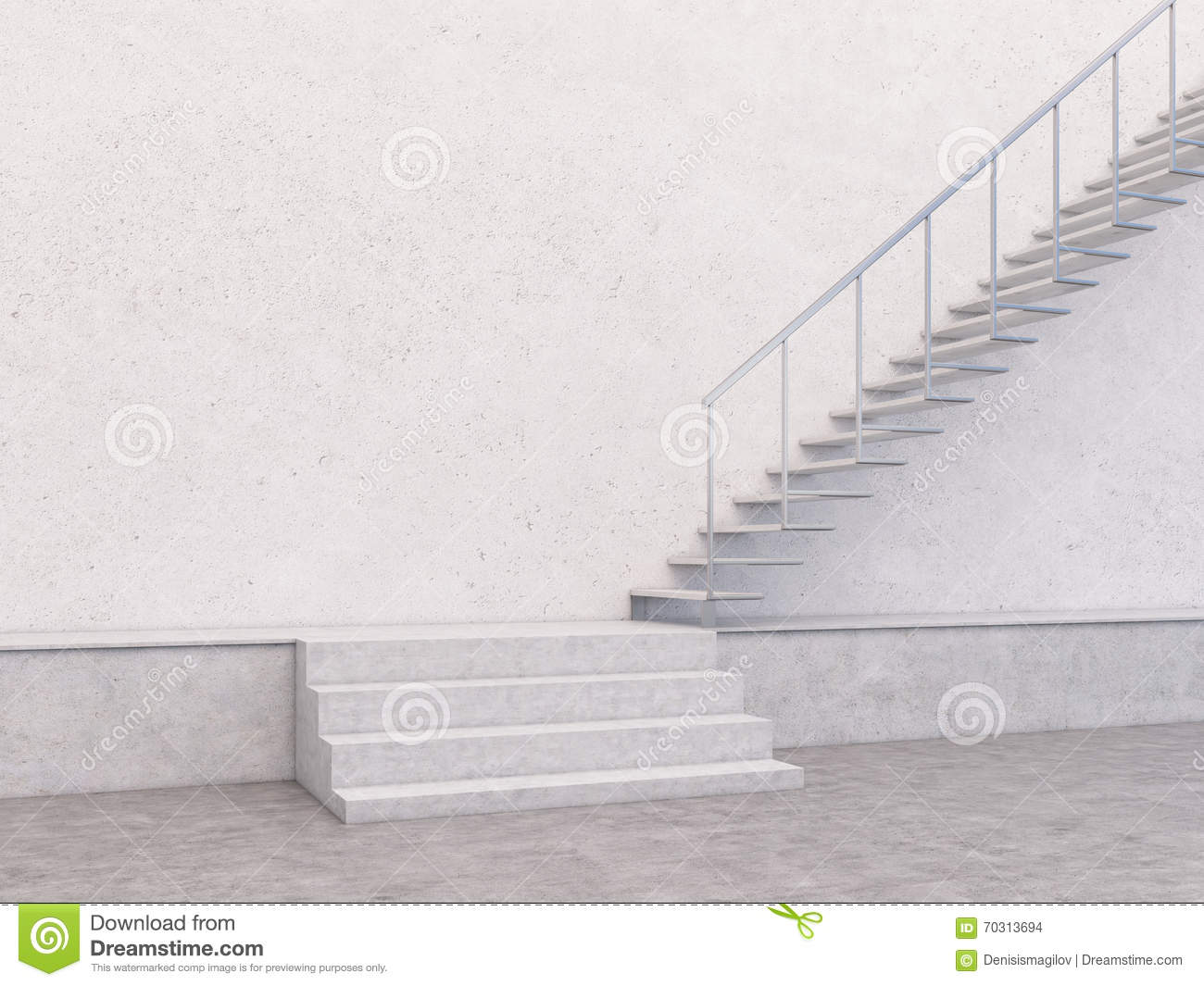 Concrete Interior Stairs Wall Stock Illustration Image