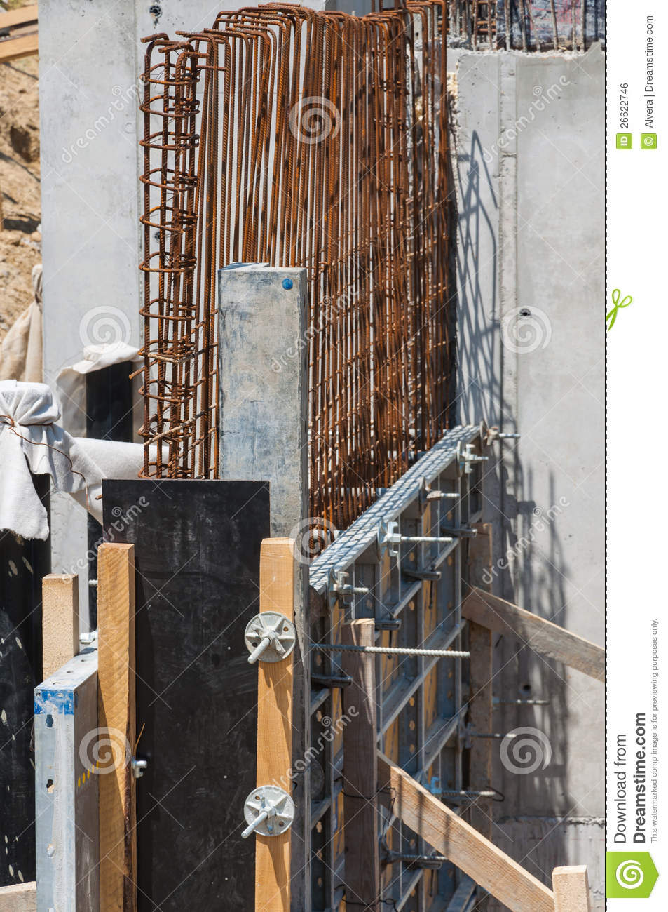 Concrete Iron Foundation Construction Detail Royalty Free