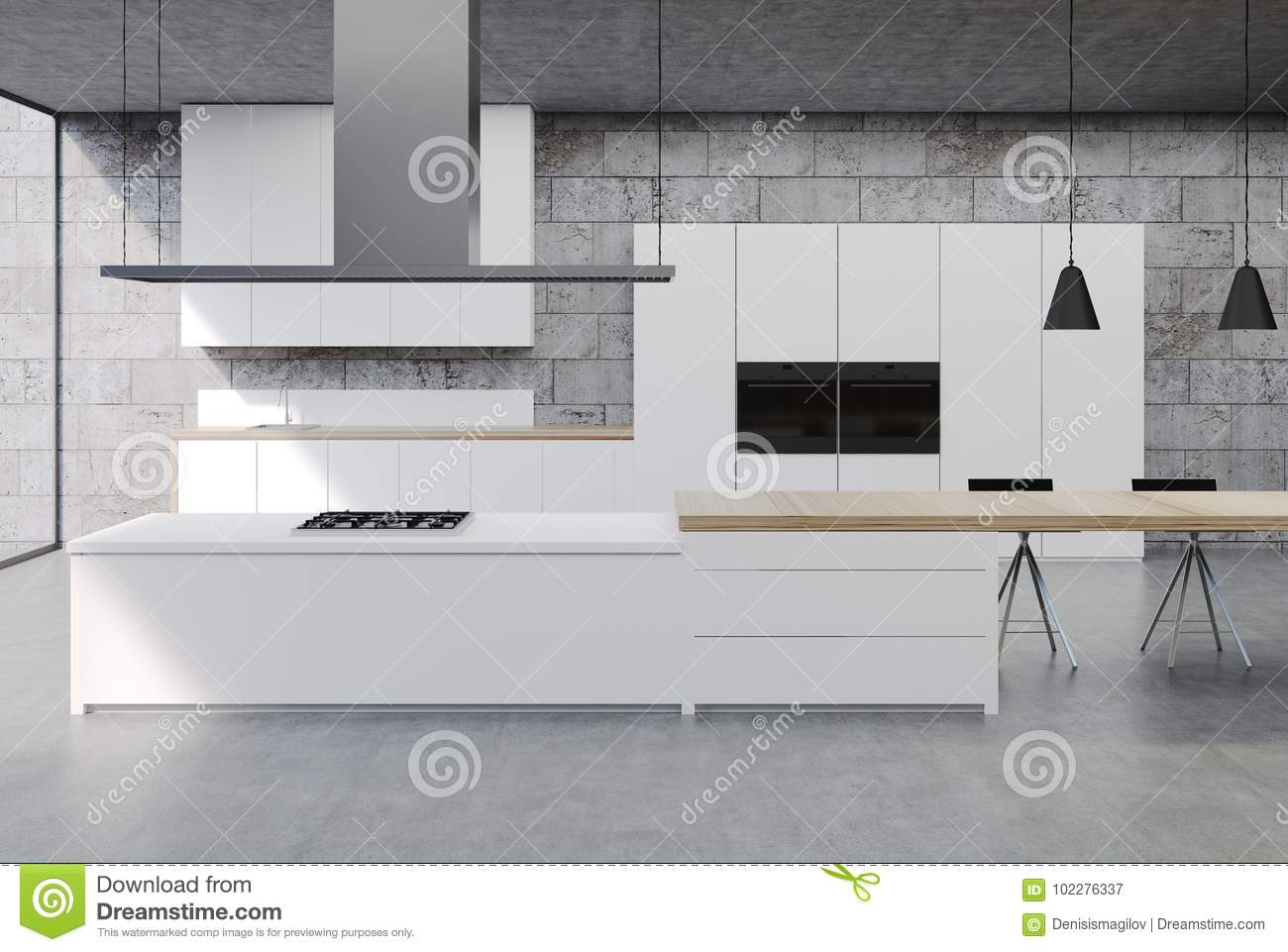 Black Tulip Dining Table, Concrete Kitchen Interior White Cabinets Stock Illustration Illustration Of Design Indoor 102276337