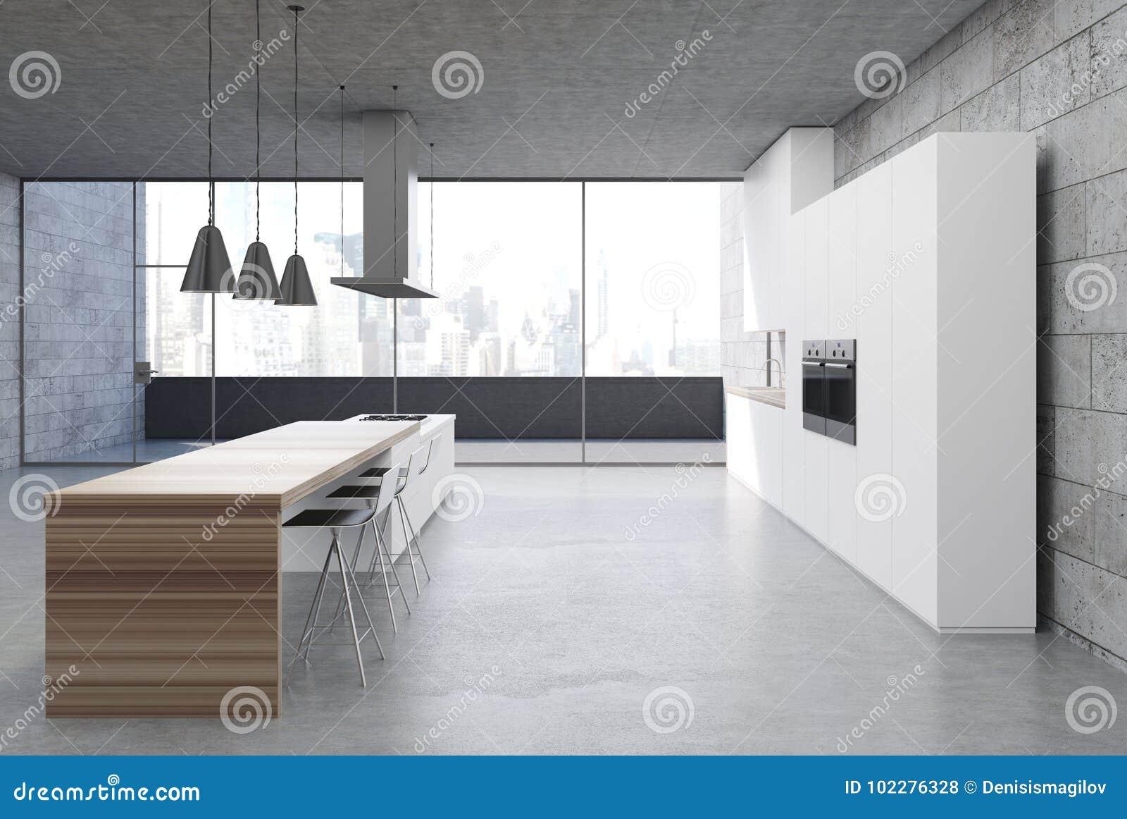 Concrete Kitchen Interior White Cabinets Side Stock