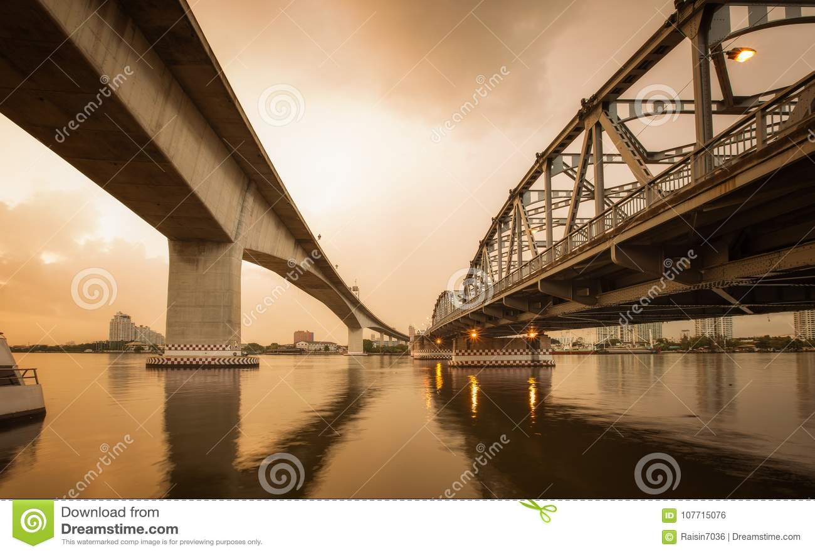 Concrete and metal bridge for transportation concept background.