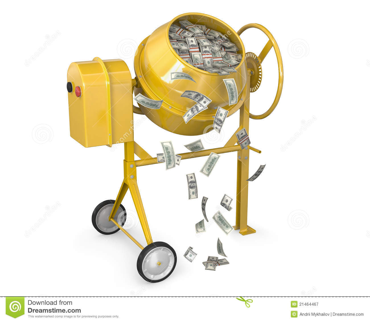 Concrete Mixing Animation : Concrete mixer full of dollars royalty free stock