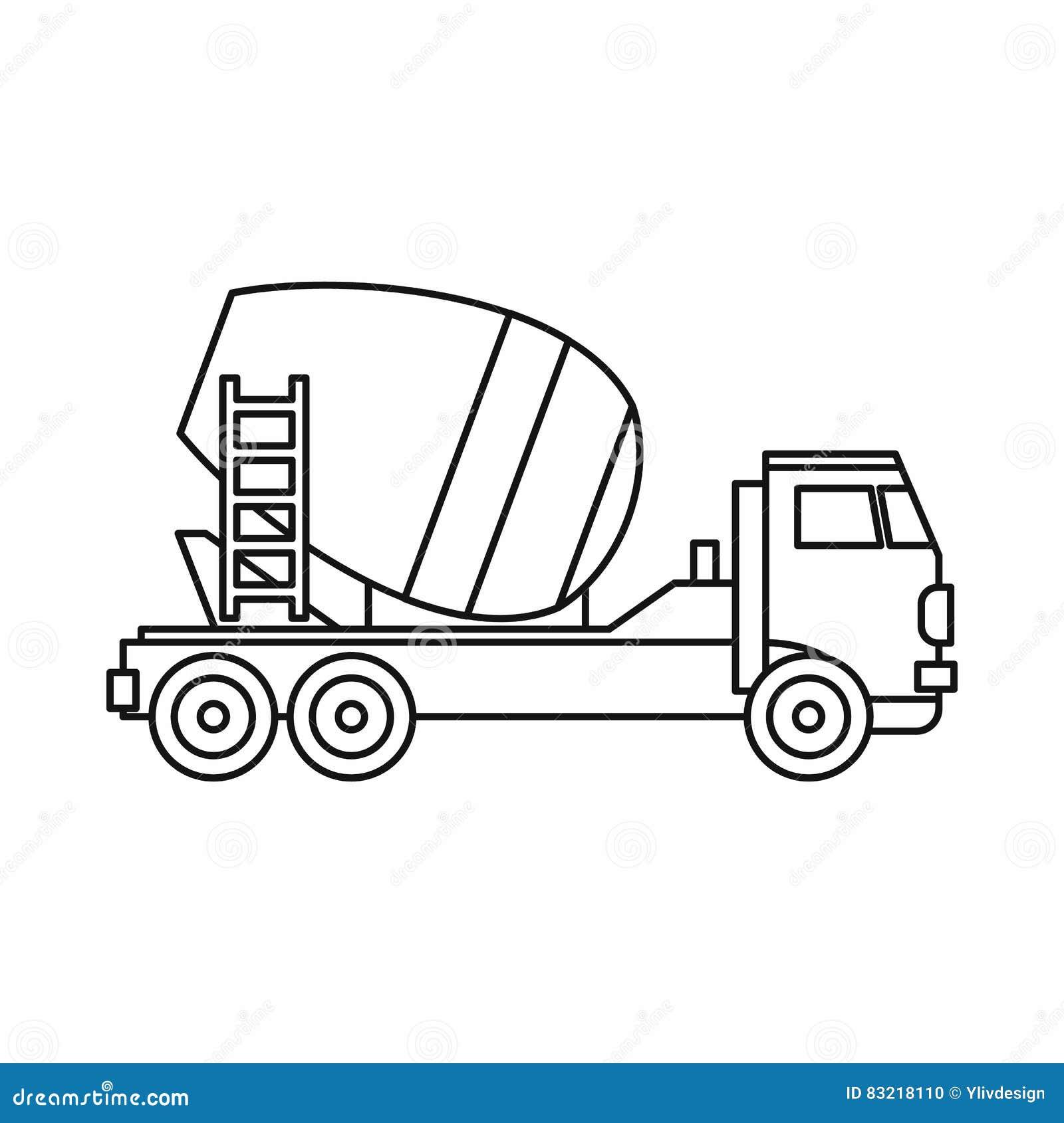Electric Mixer Outline ~ Concrete mixer truck icon outline style stock vector