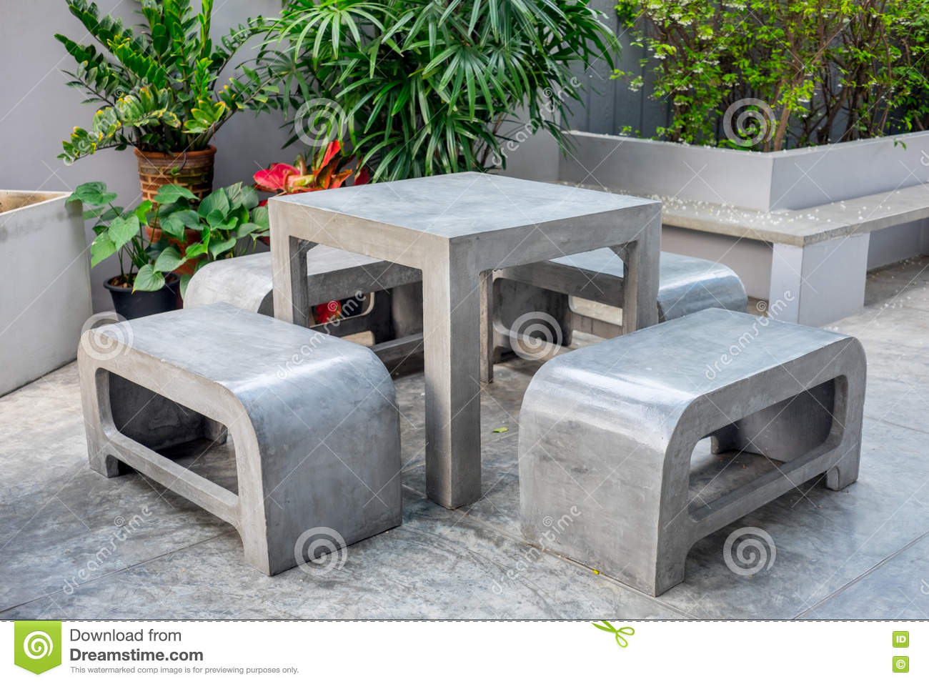 Super Concrete Outdoor Furniture Set In Small Garden Stock Photo Gamerscity Chair Design For Home Gamerscityorg
