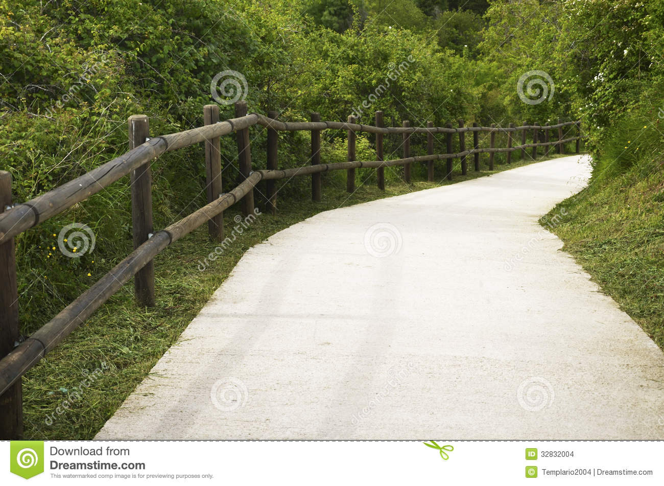 Concrete Path In The Woods Stock Images Image 32832004