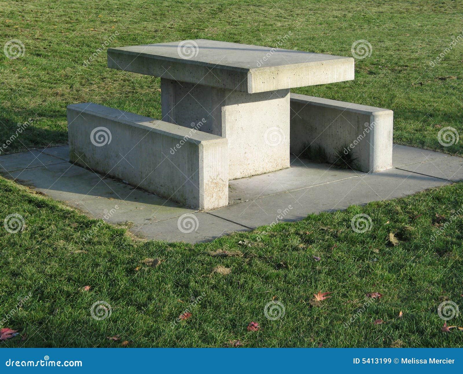 Concrete Grass Green Picnic Table ...