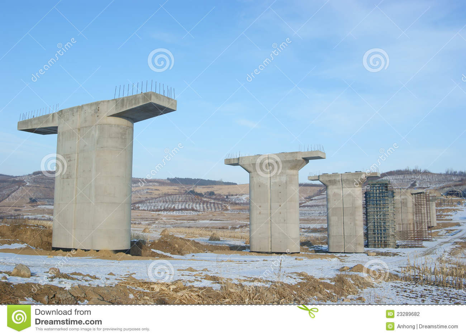 Concrete piers stock photography image 23289682 for Building a house on concrete piers