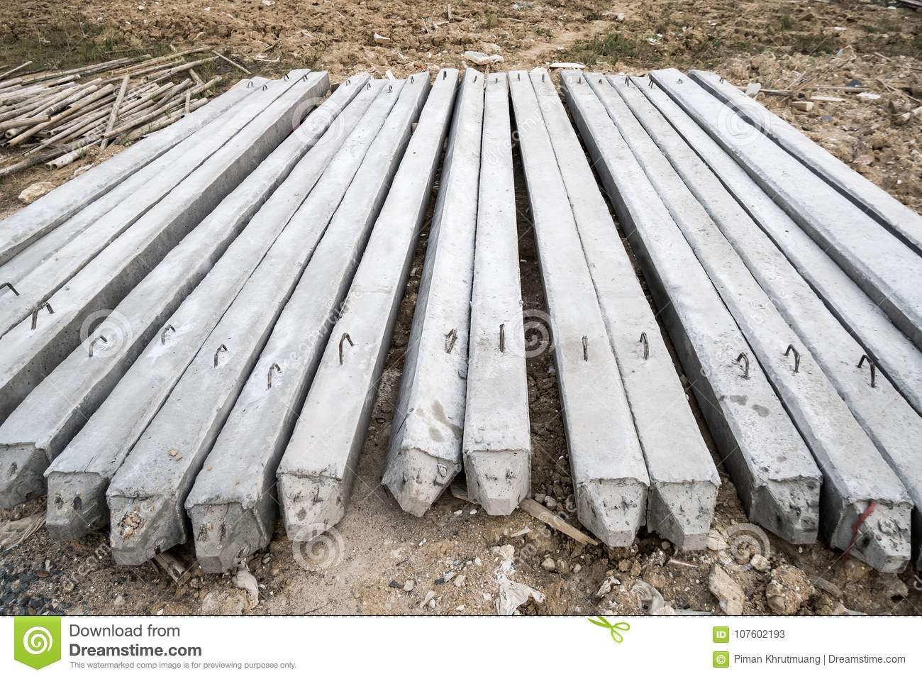 Concrete Piles On Ground For House Construction Stock Image - Image of  pole, building: 107602193