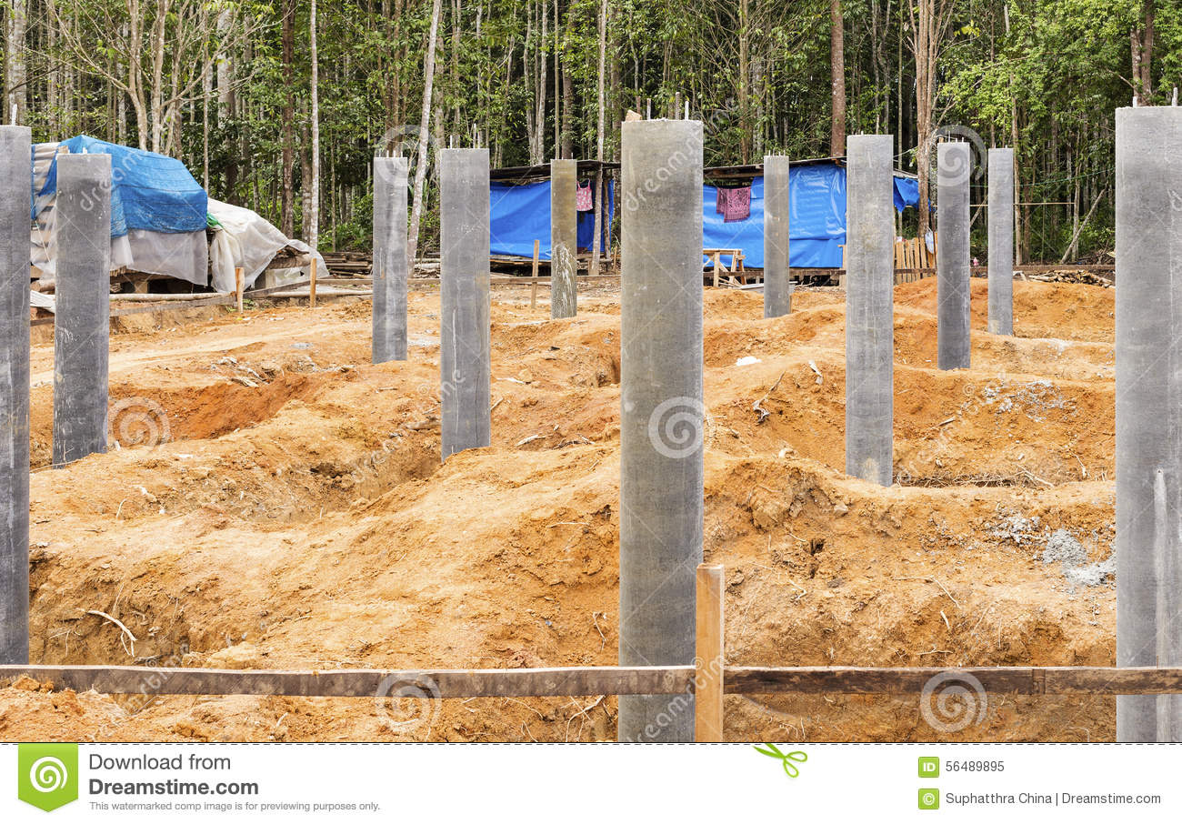 concrete pillar foundation stock image image of building