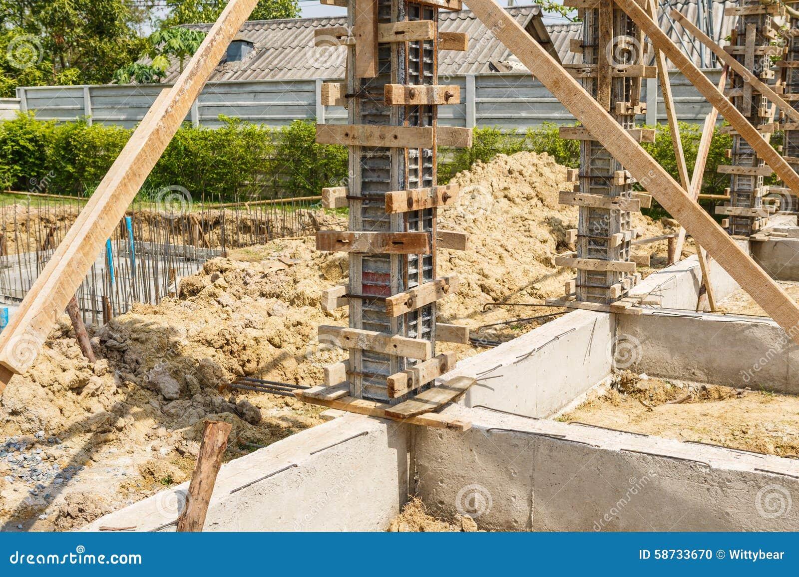 Concrete Pillar Mold For House Construction Stock Photo