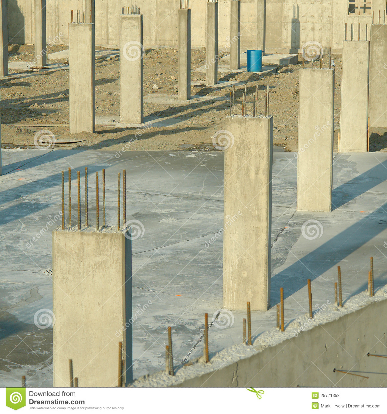 concrete pillars foundation underground parking stock