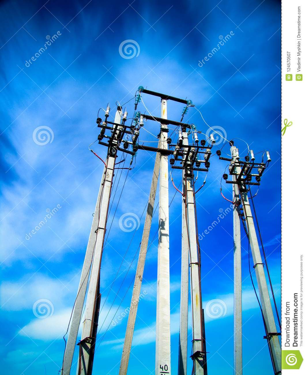 Concrete pillars of high-voltage line