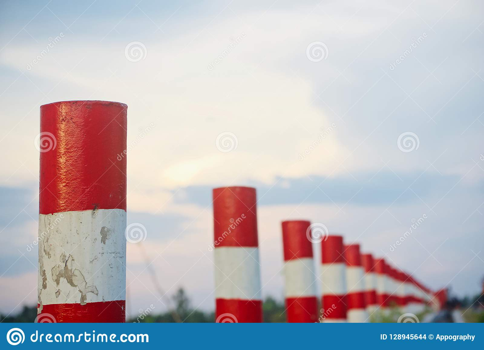 Concrete pillars isolated unique photo