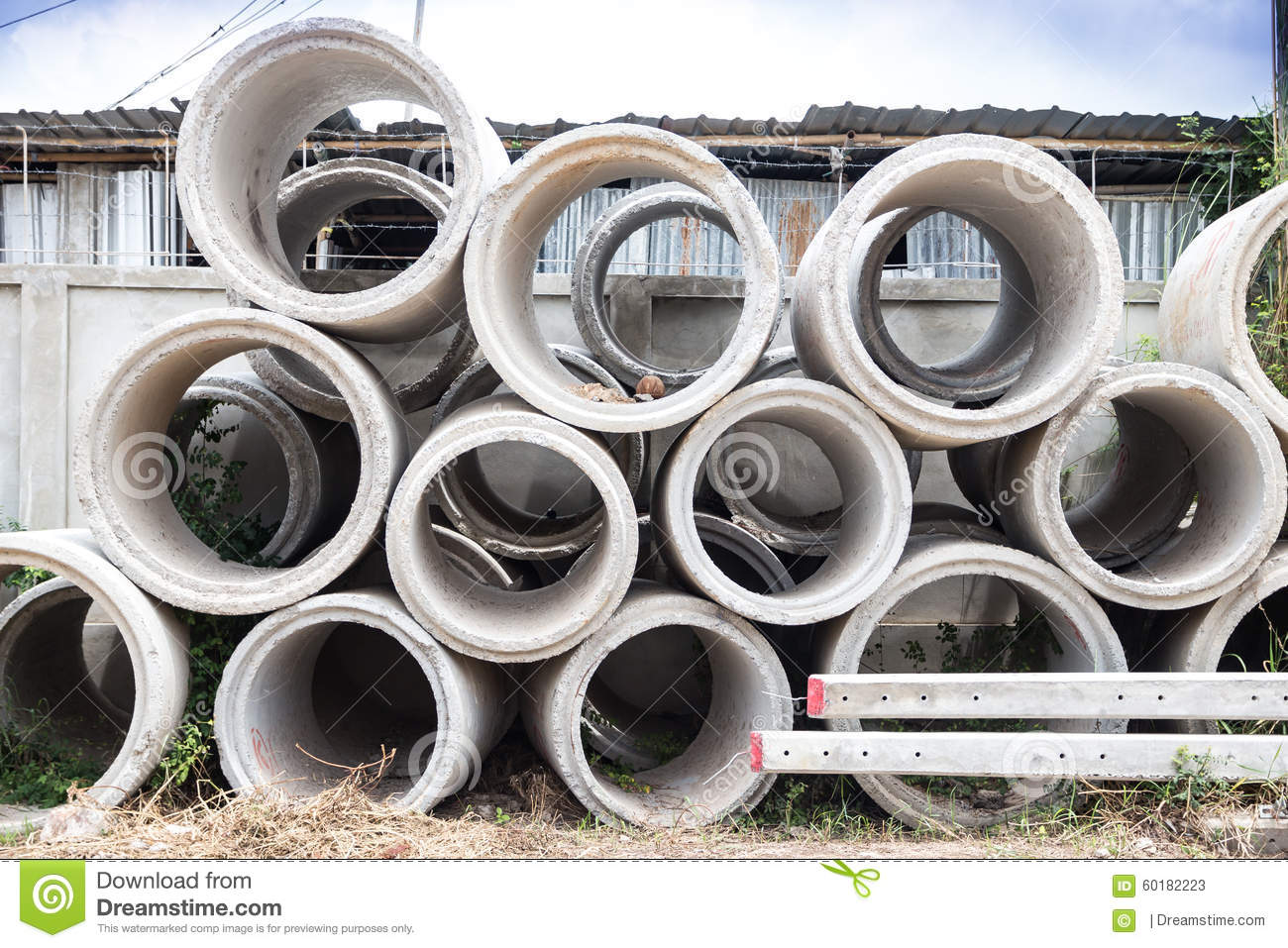 Concrete pipe big pipes stacked circular 60182223 jpg
