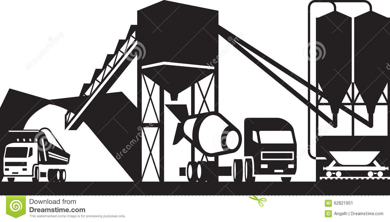 Concrete Plant With Trucks Stock Vector Illustration Of