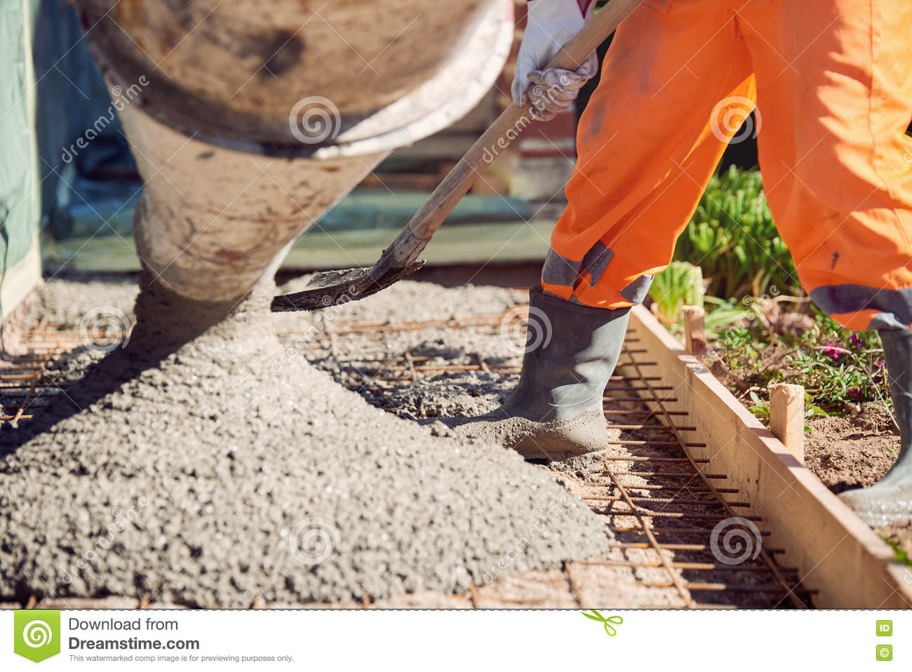 Concrete Pouring During Commercial Concreting Floors Of