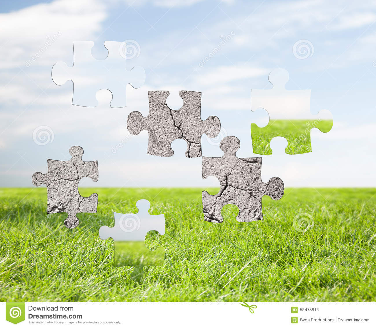 Nature Ecology: Concrete Puzzle Over Blue Sky And Grass Background Stock