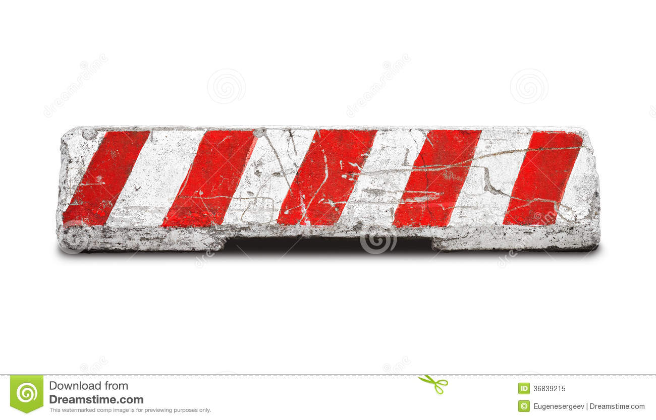 Concrete road barrier isolated on white