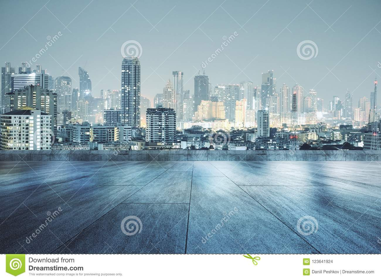 Rooftop With Night City Wallpaper Stock Photo Image Of Outdoor