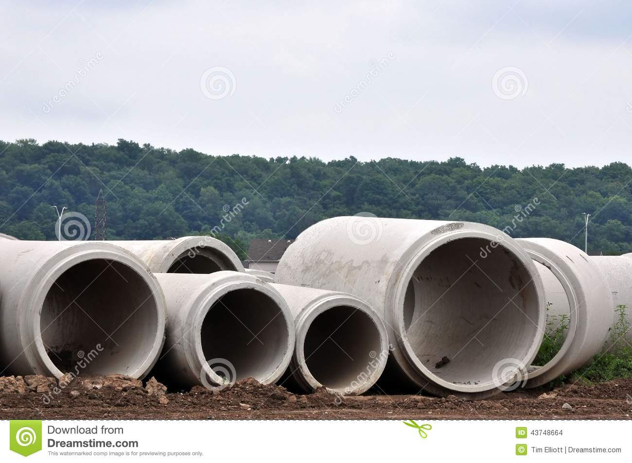 Concrete Sewer Pipe Sizes : Concrete sewer pipes stock photo image