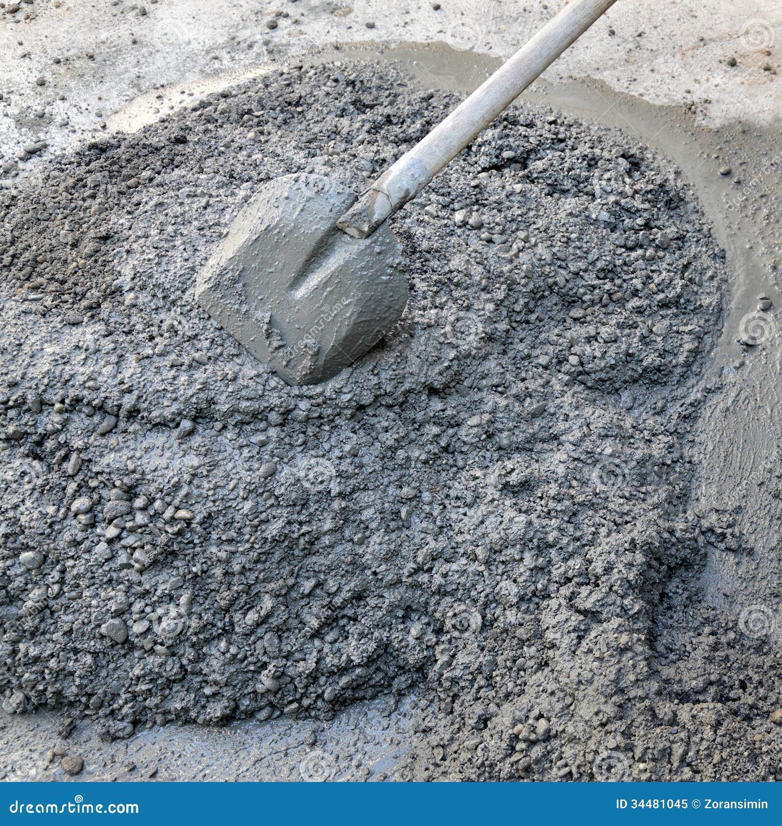 Concrete Mixing Animation : Concrete and shovel royalty free stock photo image