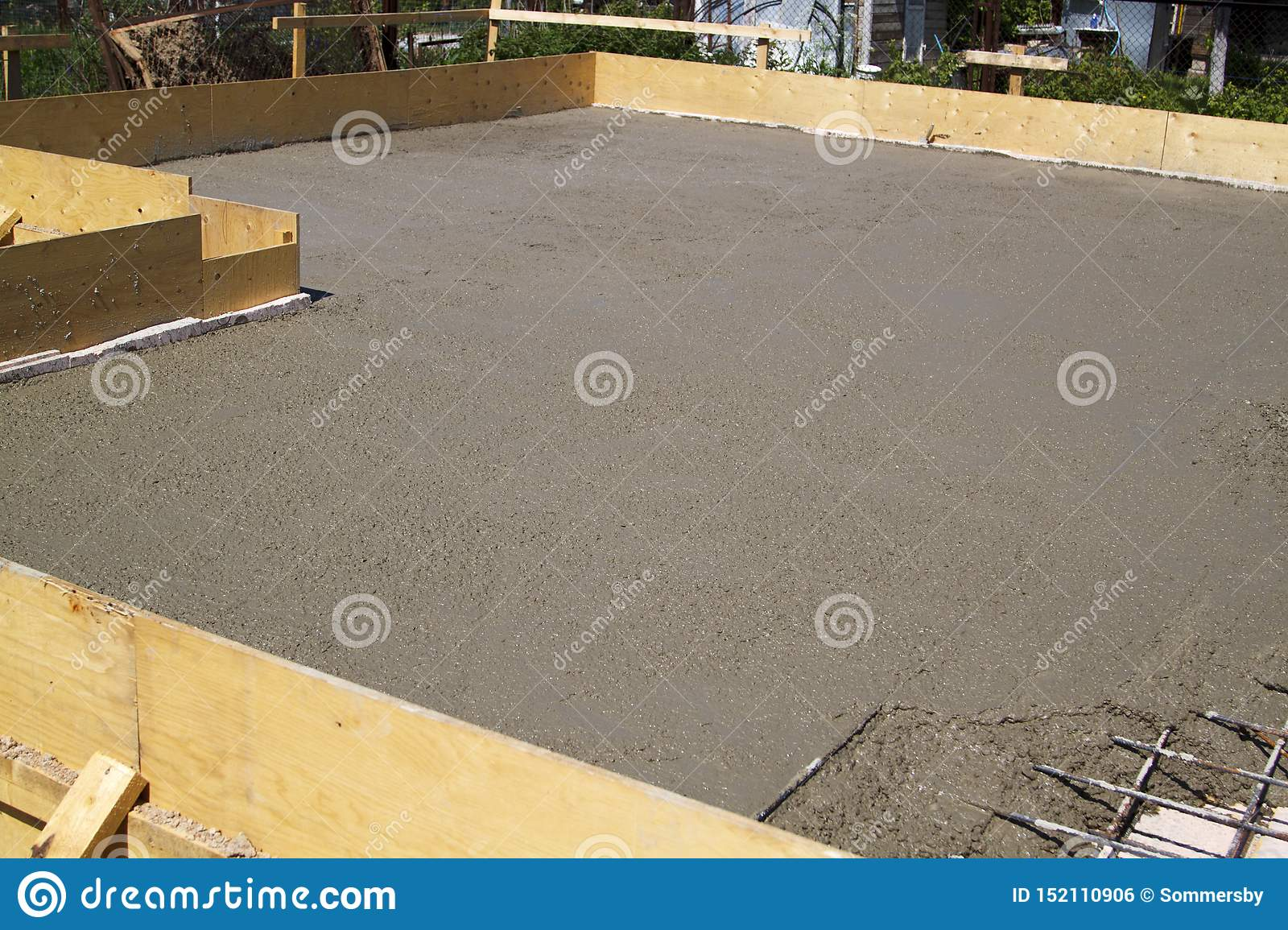 Concrete Slab Of Foundation With Wooden Formwork Stock Photo Image Of Drain Growth 152110906