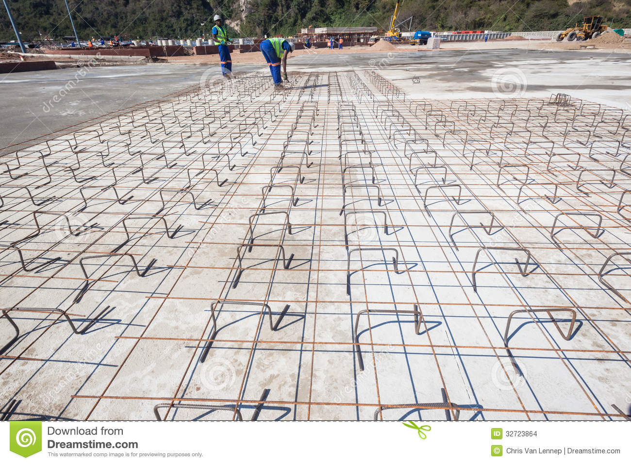 Concrete Floor Construction : Concrete steel frame flooring editorial stock image