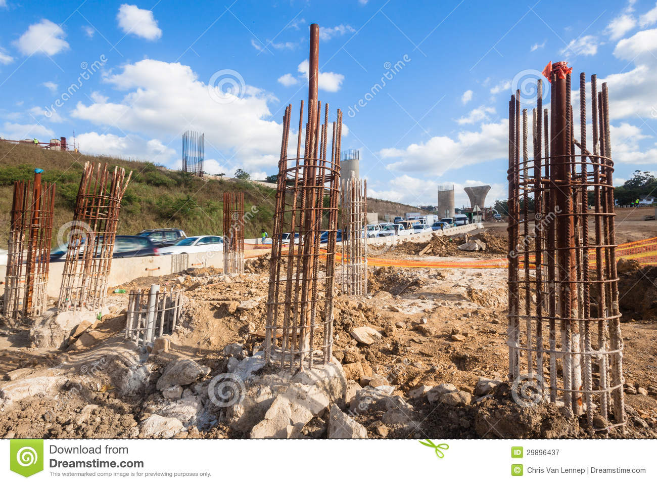 Construction Steel Pylons Columns Editorial Photography