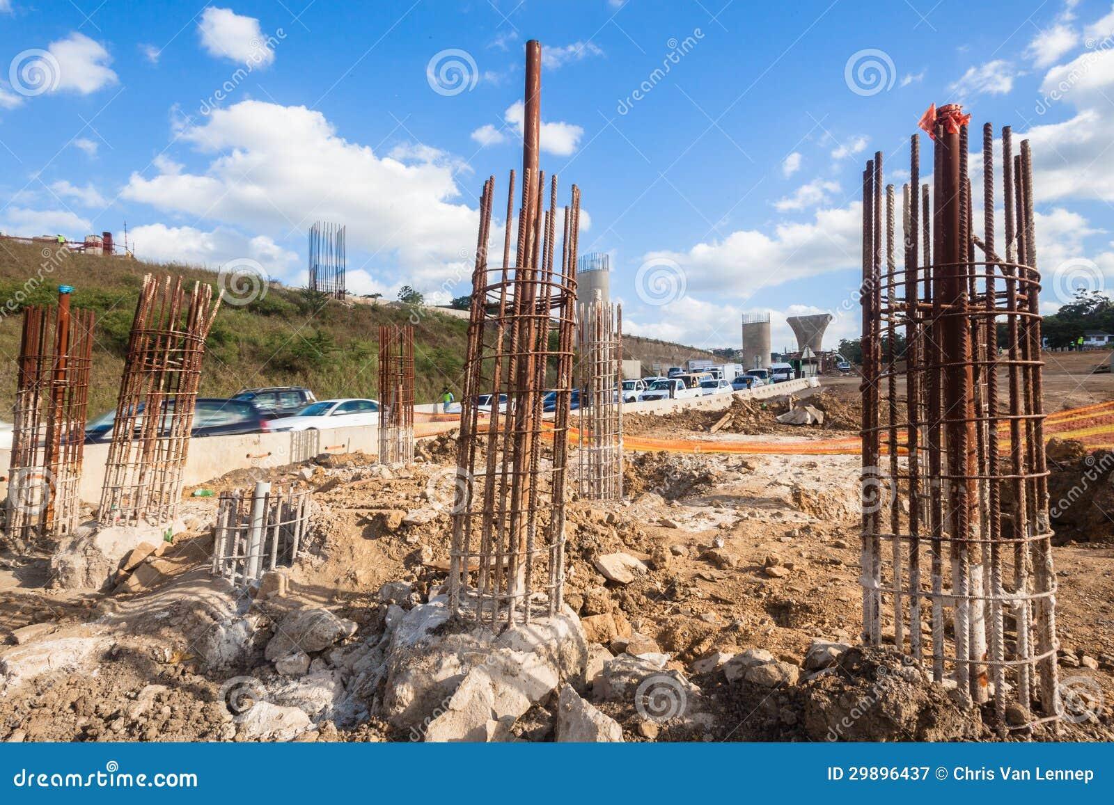 Construction steel pylons columns editorial photography for Pylon foundation