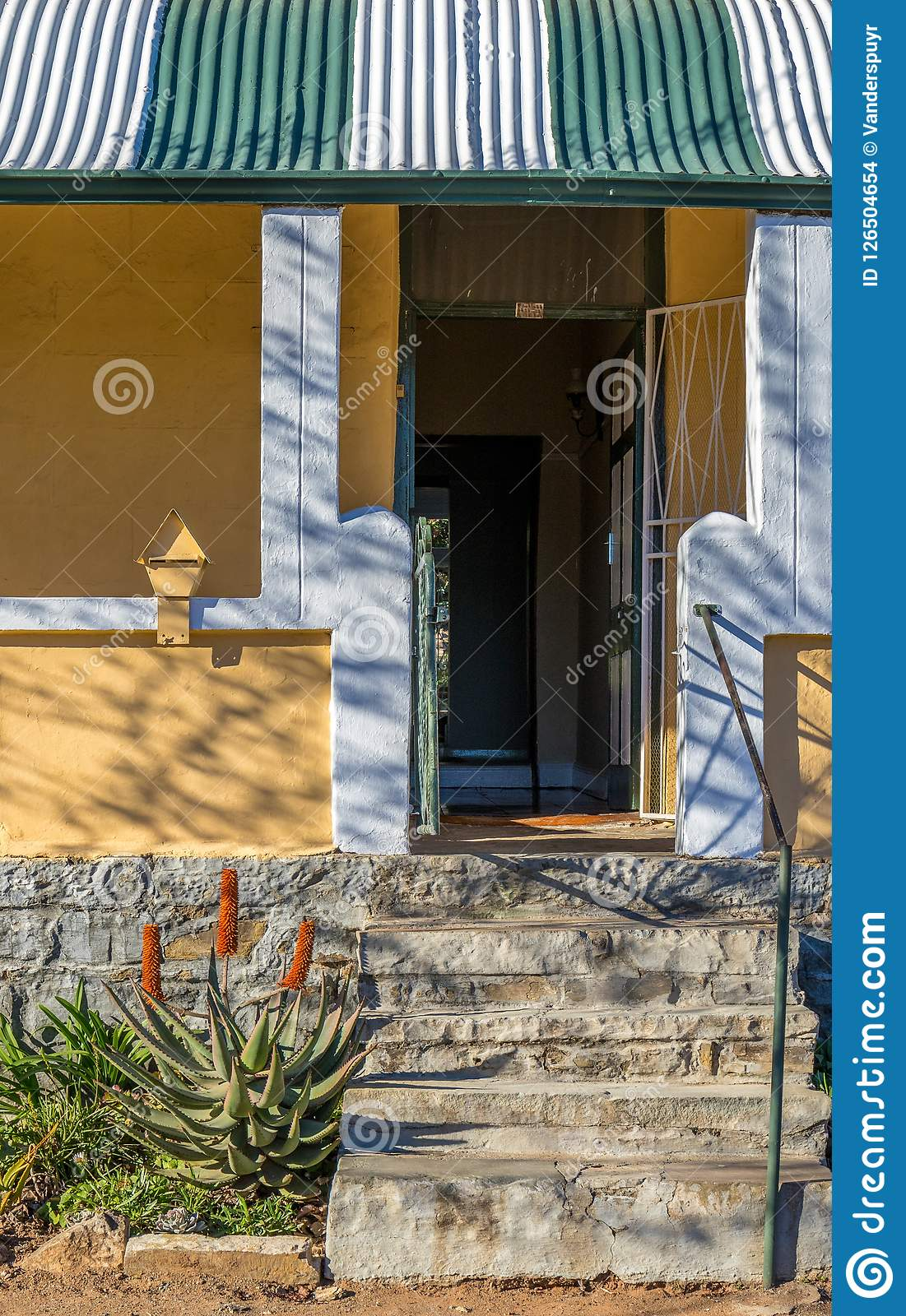 Concrete Steps Leading To An Open Front Door Stock Photo Image Of