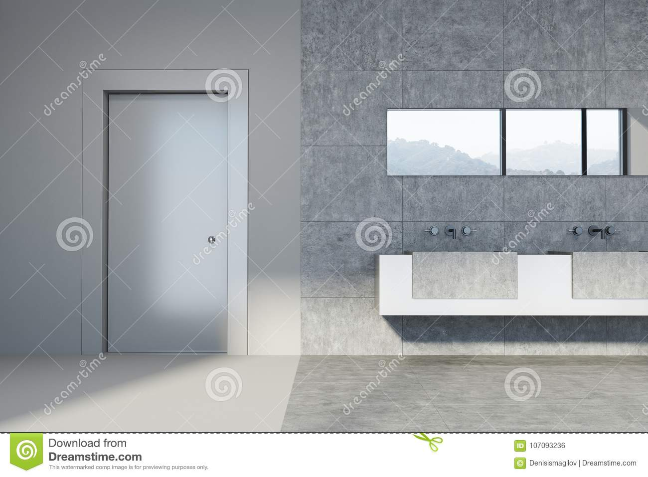 Concrete And Tiled Bathroom Double Sink Door Stock Illustration