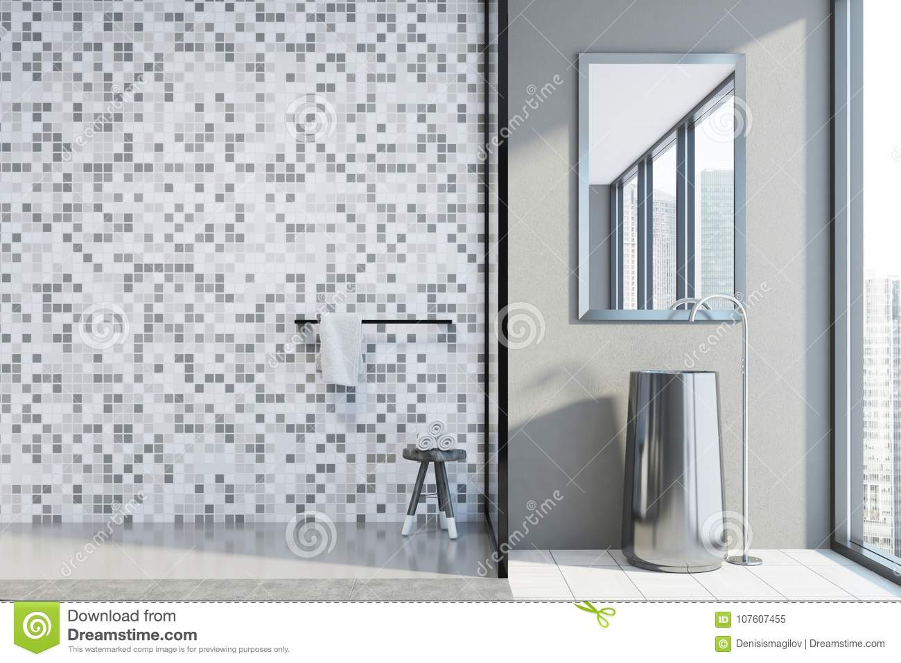 Attrayant Concrete And Tiled Bathroom Bathroom Interior With A Concrete Floor, A Shower  Stall, And A Round Sink. 3d Rendering Mock Up