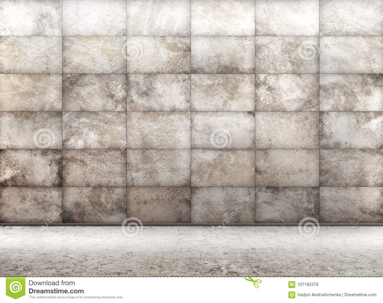 Concrete tiled wall, interior background 3d rendering