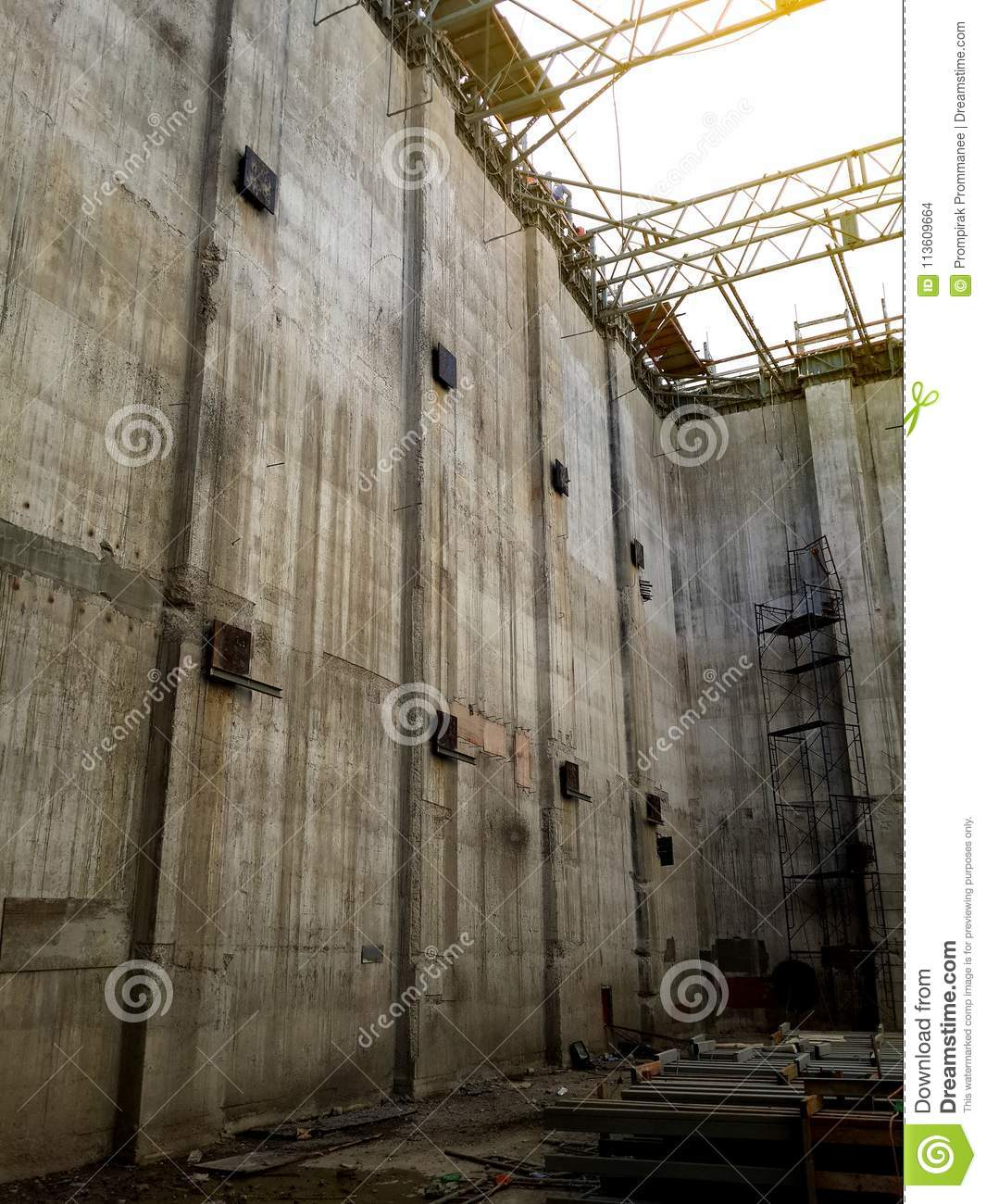 Concrete Wall Of Big Water Tank Building Under Construction