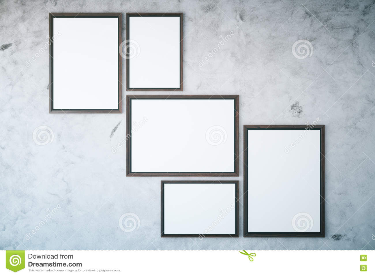 Concrete Wall With Empty Frames Stock Illustration - Illustration of ...
