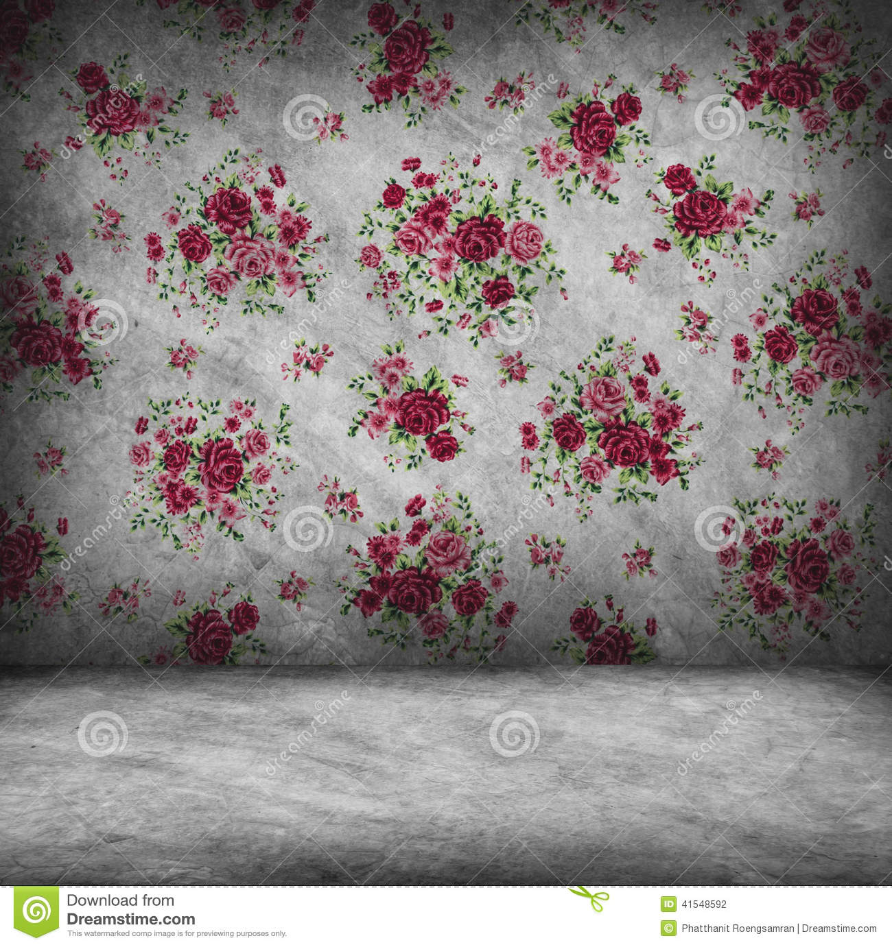 Concrete wall and floor texture with red rose wallpaper for Red wallpaper designs for walls