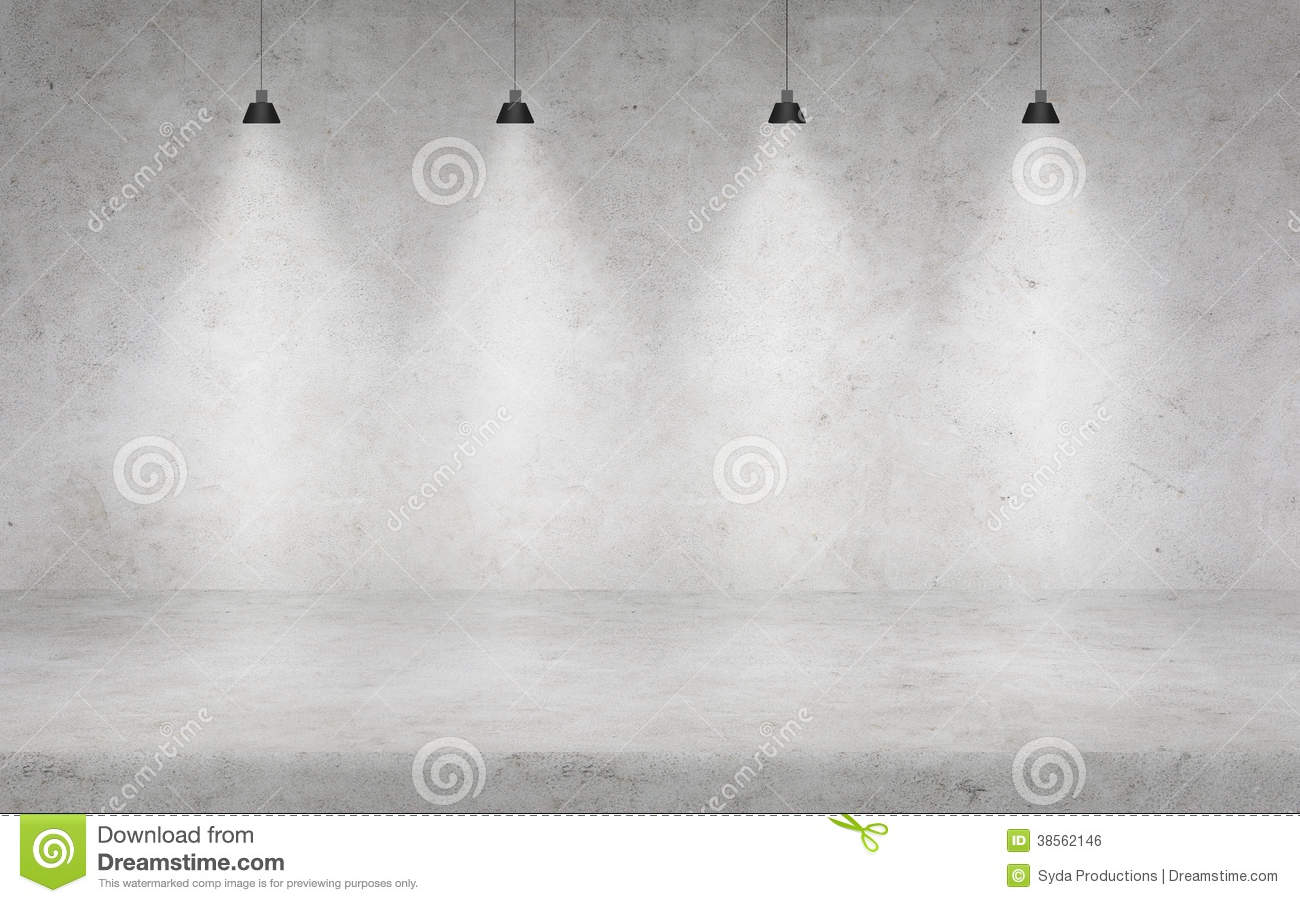 Concrete Wall With Lights Stock Photo Image Of