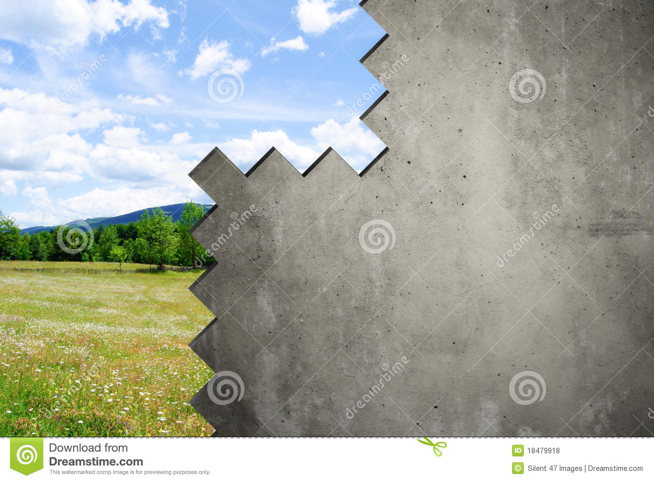 Concrete Wall Between Nature And City Royalty Free Stock ...