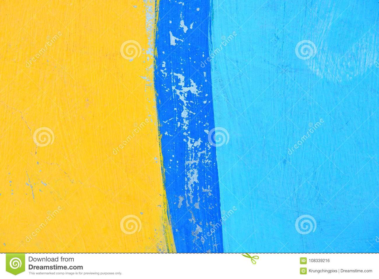Concrete Wall Painted In Colors Of Yellow And Blue. Stock Photo ...
