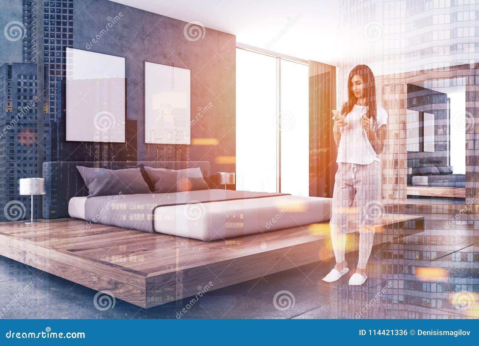 Concrete Wall Scandinavian Bedroom, Posters Toned Stock ...
