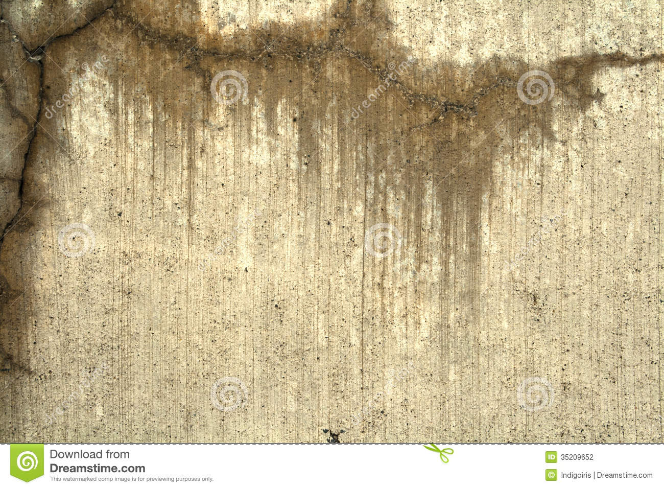 concrete wall stained from water seepage through cracks