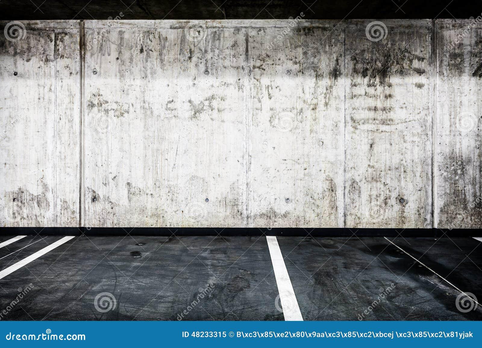 Concrete Underground Garage : Concrete wall underground garage interior background