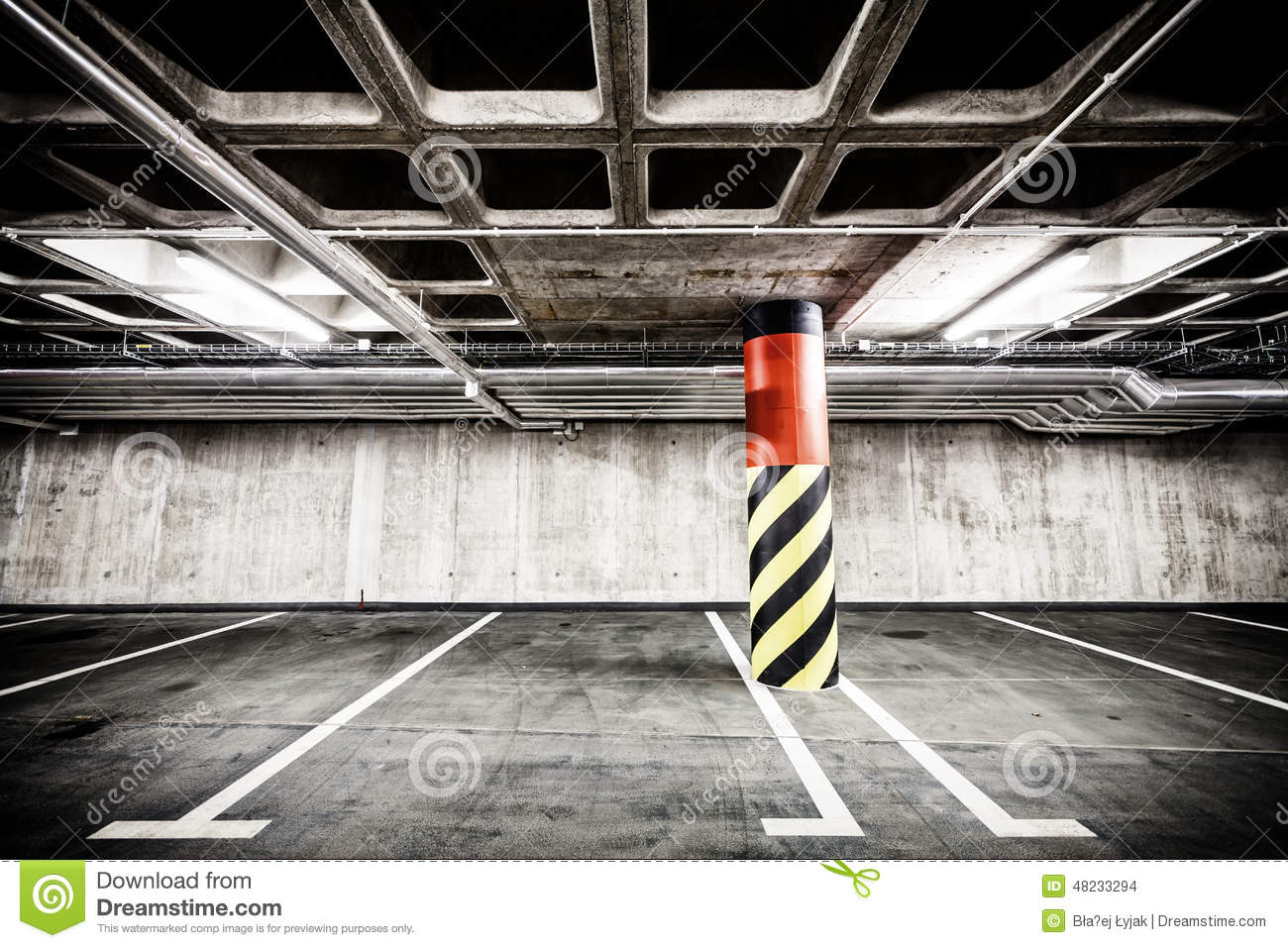 Concrete Wall Underground Parking Garage Interior Stock ...