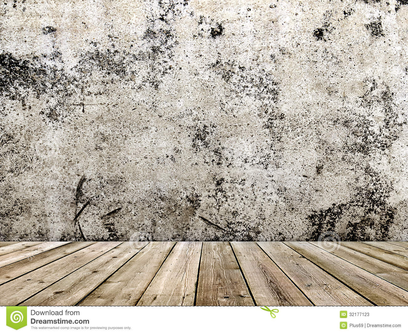 Concrete Wall And Wooden Floor In A Grunge Style Stock
