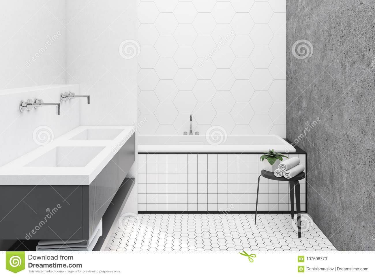 Concrete And White Tiled Bathroom Stock Illustration - Illustration ...