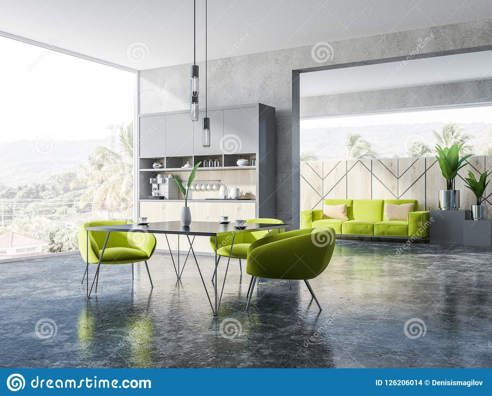Picture of: Concrete And Wooden Dining Room Green Armchairs Stock Illustration Illustration Of Armchair Nature 126206014