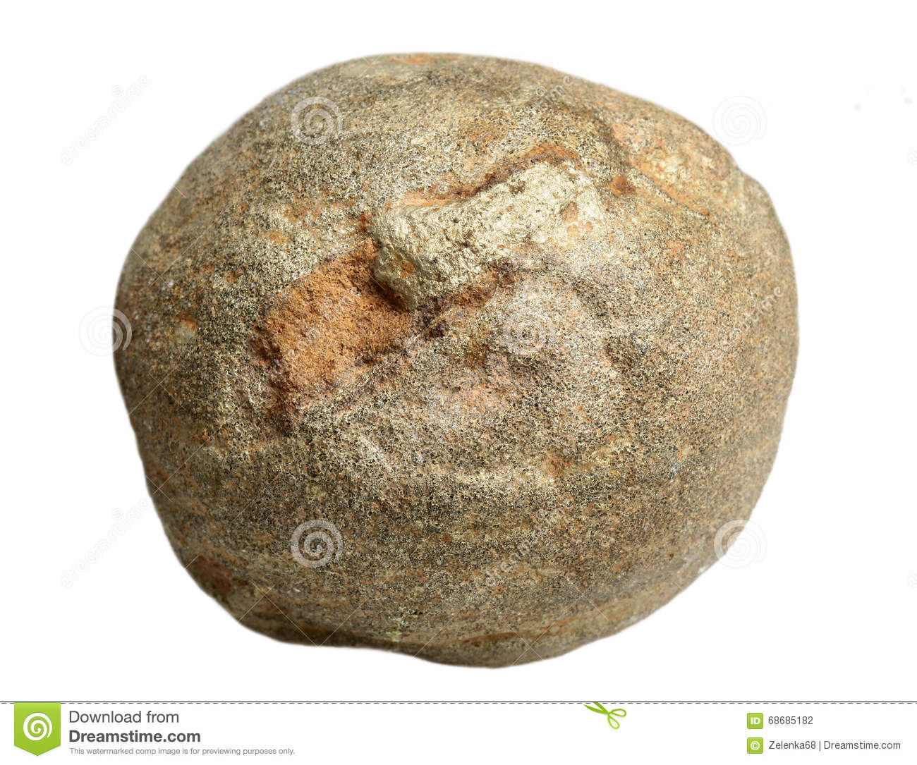 Concretion of sandstone on a white background