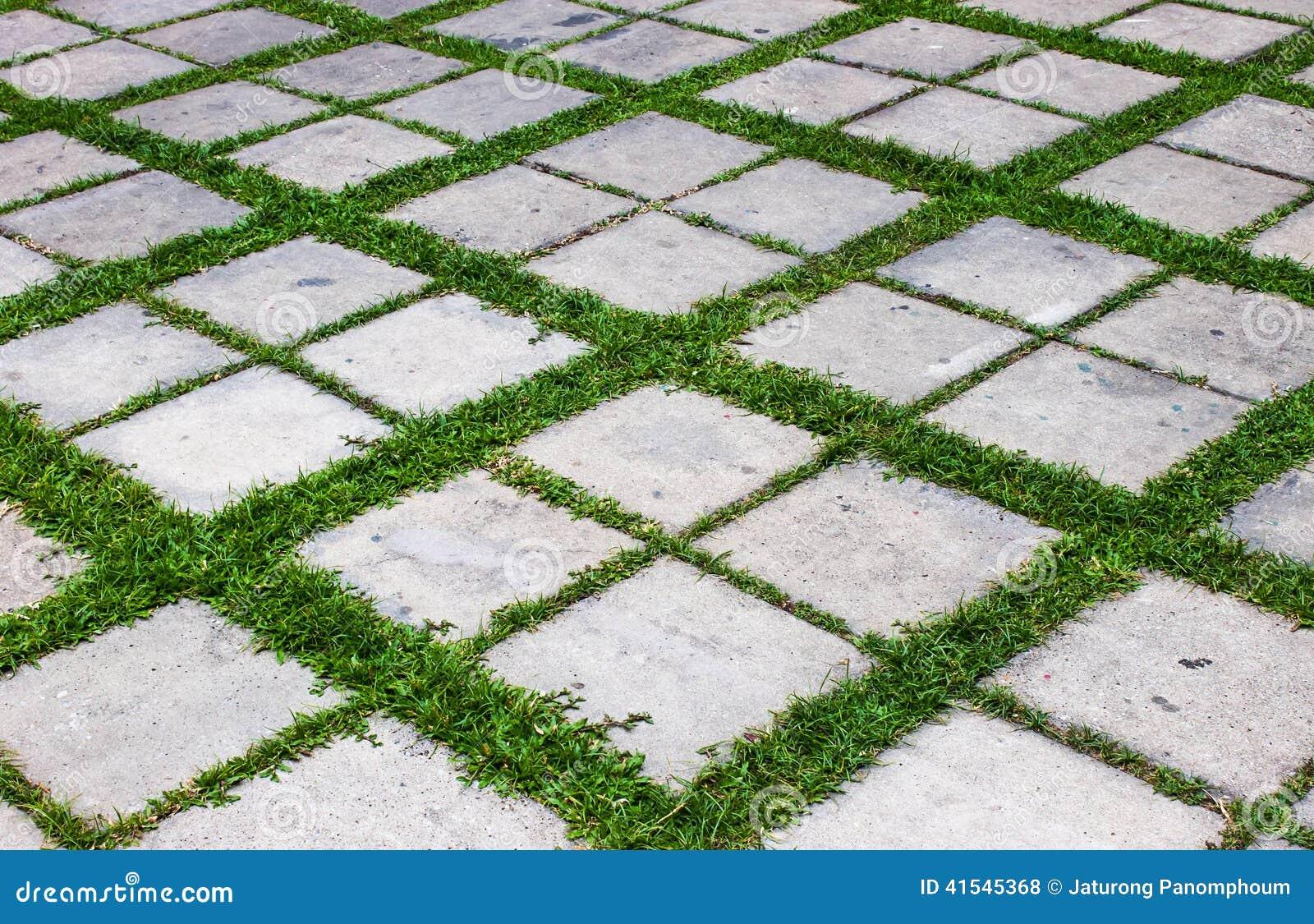Concreto com assoalho da grama foto de stock imagem - Losas de hormigon para jardines ...