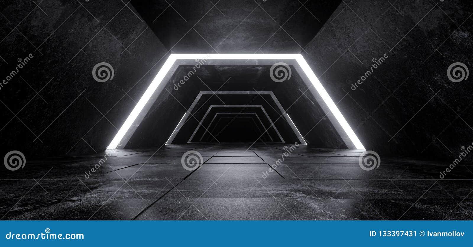 Concreto escuro vazio minimalista futurista moderno Co de Sci Fi do estrangeiro