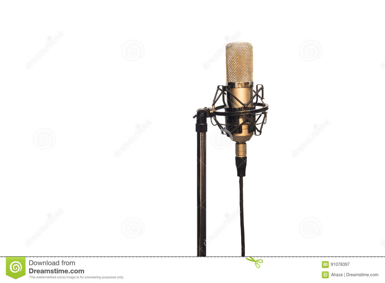 Condenser Microphone With Cable Shockmount And Stand Isolated On Mic Holder For Recording White